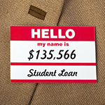 Name tag named student loans